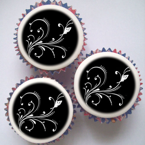 black and silver cupcakes  u0026 topper decorations